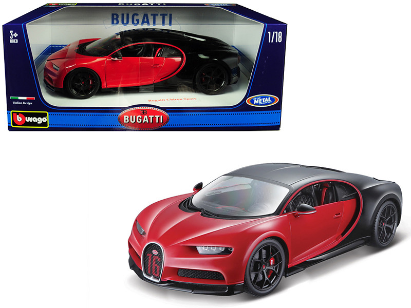Bugatti Chiron Sport 16 Red Black 1/18 Diecast Model Car Bburago 11044
