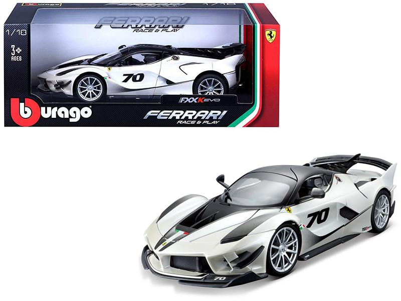 Ferrari FXX-K Evo #70 White 1/18 Diecast Model Car Bburago 16012