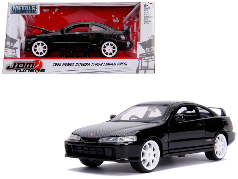 1995 Honda Integra Type-R Japan Spec RHD Right Hand Drive Glossy Black Carbon Hood White Wheels JDM Tuners 1/24 Diecast Model Car Jada 30930