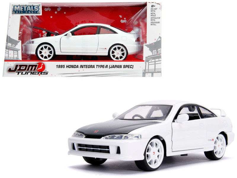 1995 Honda Integra Type-R Japan Spec RHD Right Hand Drive Glossy White Carbon Hood White Wheels JDM Tuners 1/24 Diecast Model Car Jada 30931