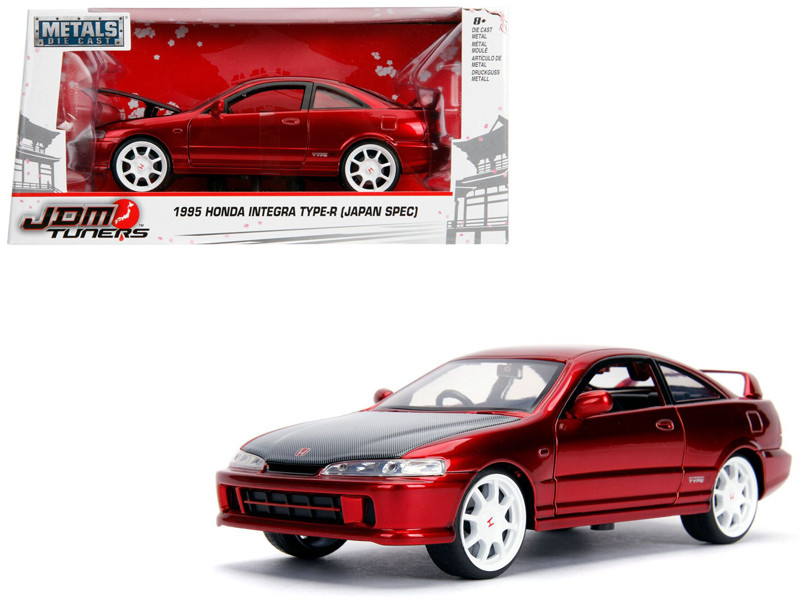 1995 Honda Integra Type-R Japan Spec RHD Right Hand Drive Candy Red Carbon Hood White Wheels JDM Tuners 1/24 Diecast Model Car Jada 30932