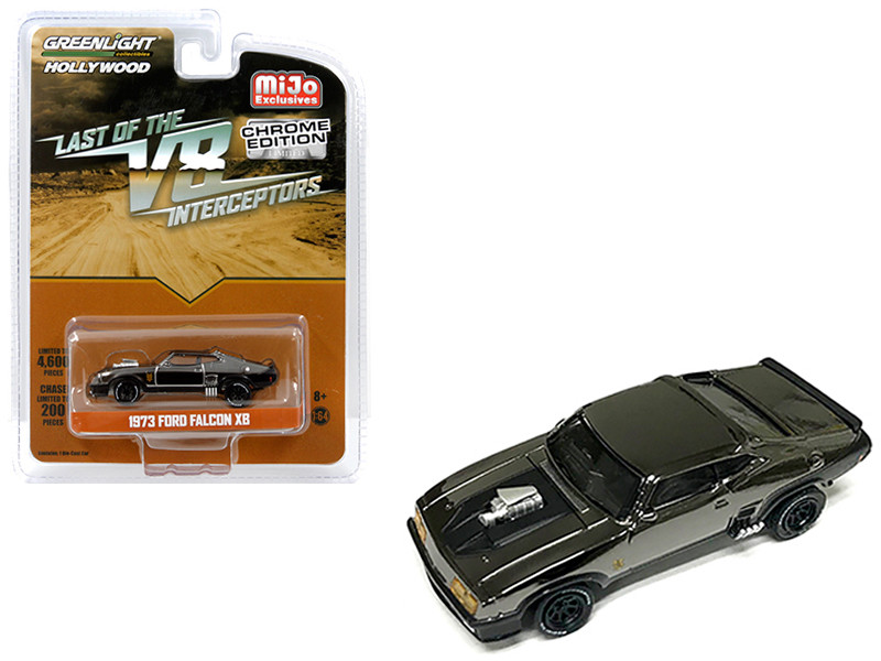 1973 Ford Falcon XB Chrome Black Edition The Last of the V8 Interceptors 1979 Movie Limited Edition 4600 pieces Worldwide 1/64 Diecast Model Car Greenlight 51229