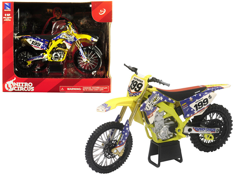 Suzuki RMZ450 Nitro Circus #199 Travis Pastrana Yellow Blue 1/12 Diecast Motorcycle Model New Ray 57993