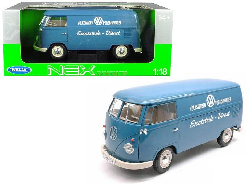 1963 Volkswagen T1 Microbus Volkswagen Porschewagen Blue 1/18 Diecast Model Welly 18053