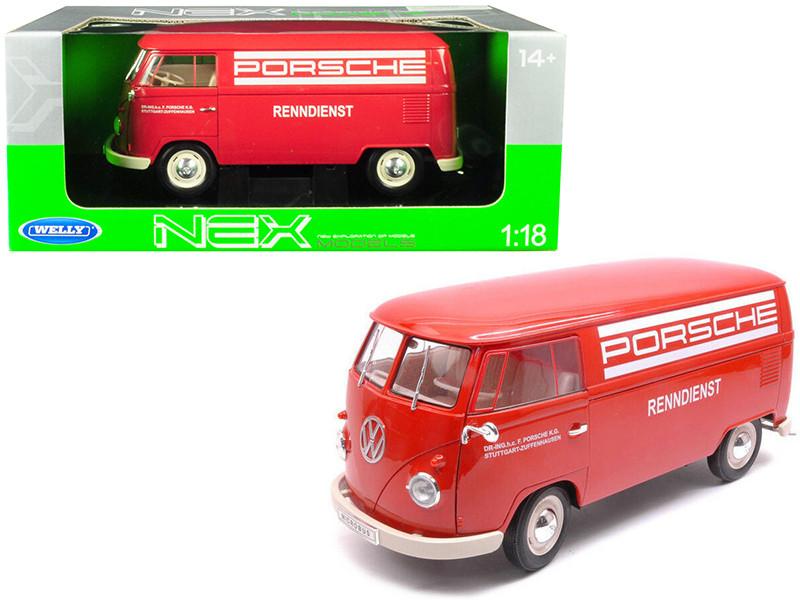 1963 Volkswagen T1 Microbus Porsche Red 1/18 Diecast Model Welly 18053