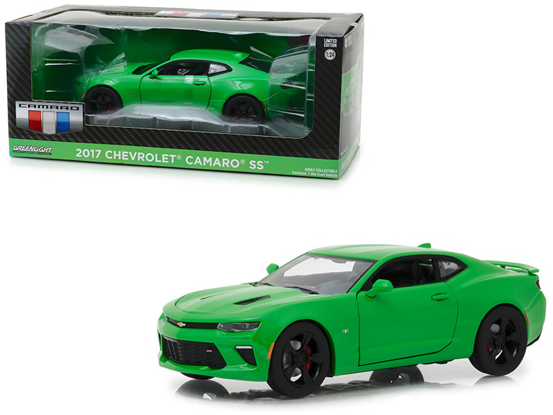 2017 Chevrolet Camaro SS Krypton Green 1/24 Diecast Model Car Greenlight 18244