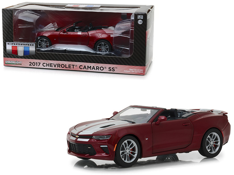 2017 Chevrolet Camaro SS Convertible Garnet Red Tintcoat Silver Stripes 1/24 Diecast Model Car Greenlight 18245