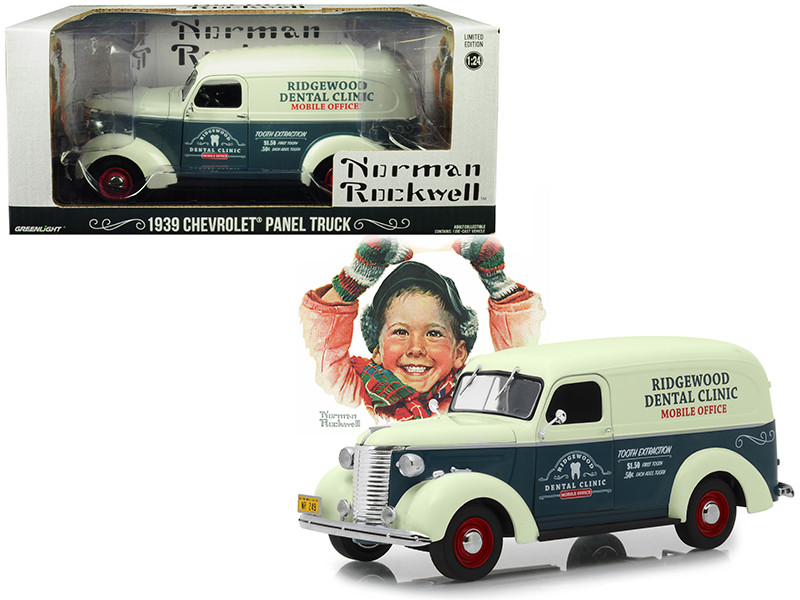 1939 Chevrolet Panel Truck Ridgewood Dental Clinic Norman Rockwell Delivery Vehicles Series Dark Gray White 1/24 Diecast Model Car Greenlight 18249