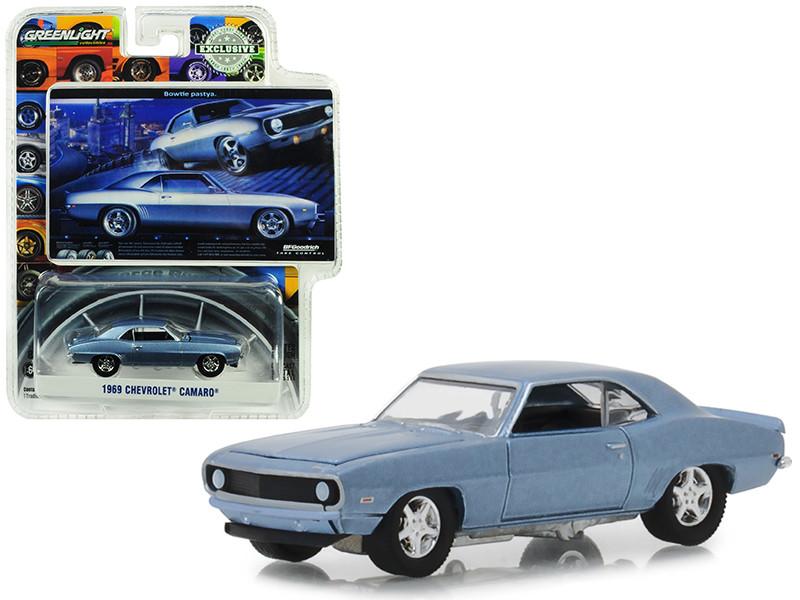 1969 Chevrolet Camaro Steel Blue Bowtie Pastya BFGoodrich Vintage Ad Cars Hobby Exclusive 1/64 Diecast Model Car Greenlight 29976