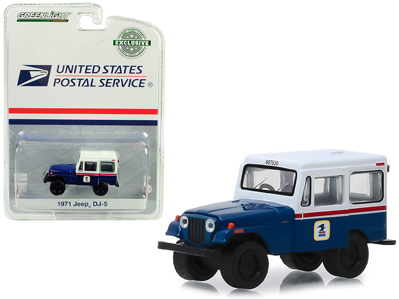 1971 Jeep DJ-5 United States Postal Service USPS Blue White Roof Hobby Exclusive 1/64 Diecast Model Car Greenlight 29998