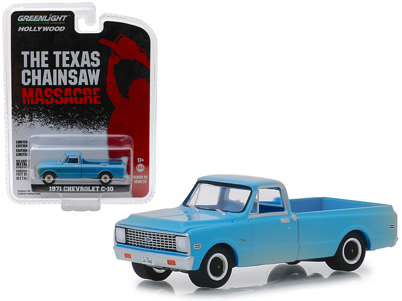 1971 Chevrolet C-10 Pickup Truck Blue Dusty The Texas Chainsaw Massacre 1974 Movie Hollywood Series 22 1/64 Diecast Model Car Greenlight 44820 B