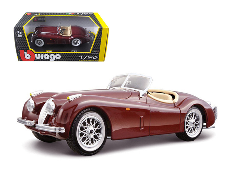 1951 Jaguar XK 120 Roadster Burgundy 1/24 Diecast Model Car Bburago 22018