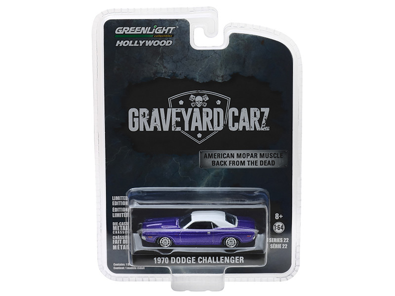1970 Dodge Challenger Purple White Top Graveyard Carz 2012 TV Series Season 5 Chally vs Chally Hollywood Series 22 1/64 Diecast Model Car Greenlight 44820 F