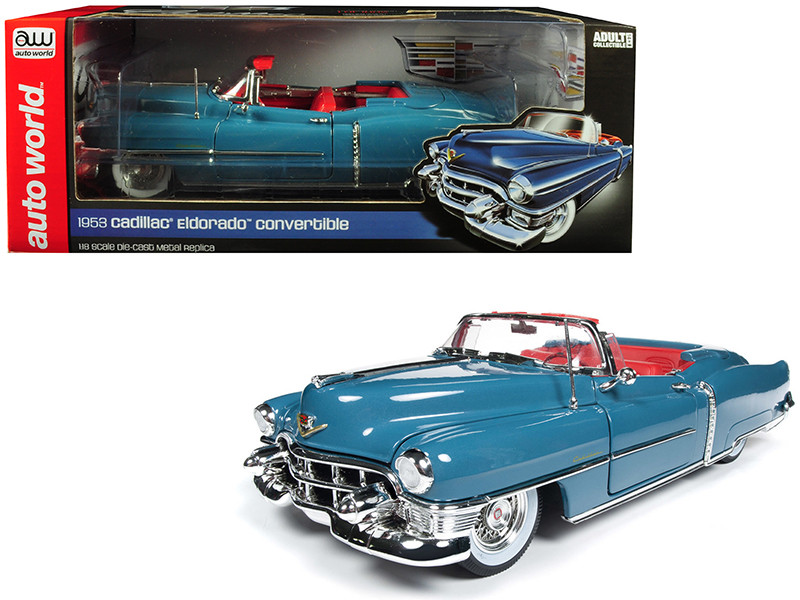 1953 Cadillac Eldorado Convertible Tunis Blue Limited Edition 1002 pieces Worldwide 1/18 Diecast Model Car Autoworld AW251