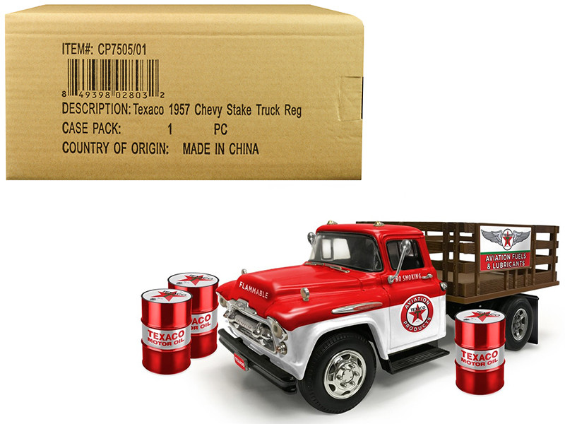 1957 Chevrolet Stake Bed Truck White Red 3 Oil Drums Texaco Aviation Fuels Lubricants Regular Edition 1/25 Diecast Model Autoworld CP7505