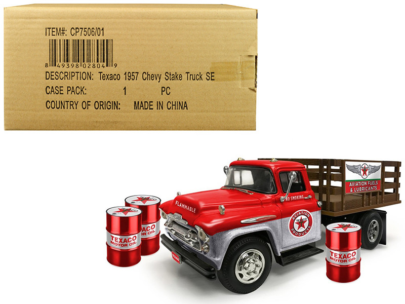 1957 Chevrolet Stake Bed Truck Red Metal 3 Oil Drums Texaco Aviation Fuels Lubricants Brushed Metal Edition 1/25 Diecast Model Autoworld CP7506
