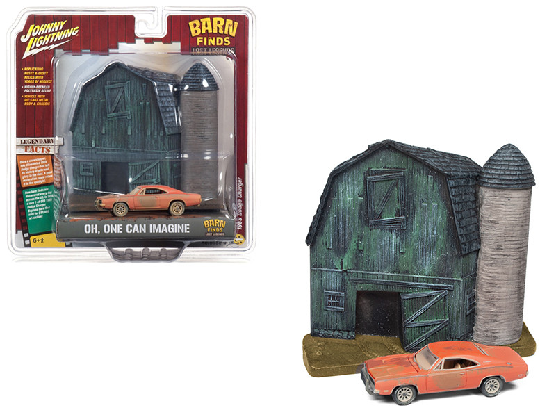 1969 Dodge Charger Orange Unrestored Barn Finds Resin Facade Diorama Lost Legend Series 1/64 Diecast Model Johnny Lightning JLDR006