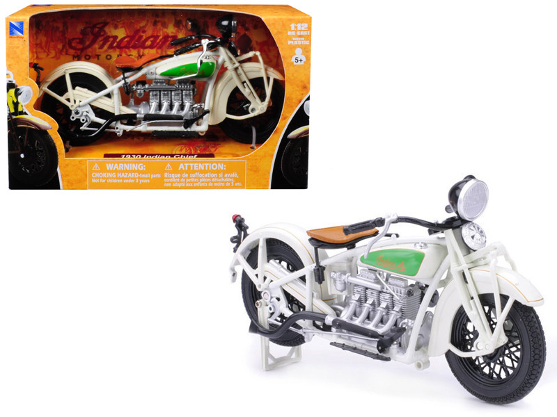 1930 Indian Chief White Bike Motorcycle 1/12 Diecast Model New Ray 42163