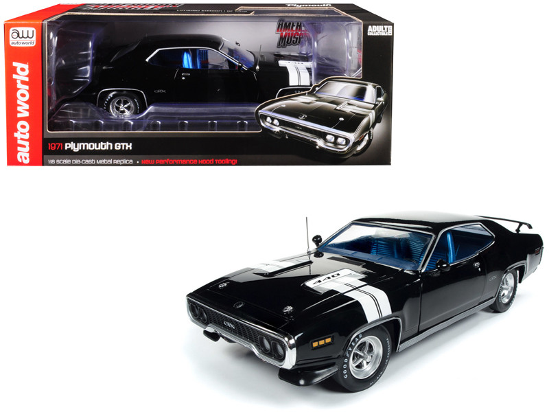 1971 Plymouth GTX Hardtop Black Velvet White Stripes Limited Edition 1002 pieces Worldwide 1/18 Diecast Model Car Autoworld AMM1133