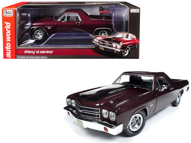 1970 Chevrolet El Camino SS Black Cherry 100th Anniversary Limited Edition 1002 pieces Worldwide 1/18 Diecast Model Car Autoworld AMM1161