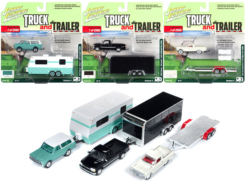 Truck and Trailer Series 4 Set A 3 Cars Limited Edition 2560 pieces Worldwide 1/64 Diecast Model Cars Johnny Lightning JLBT009 A