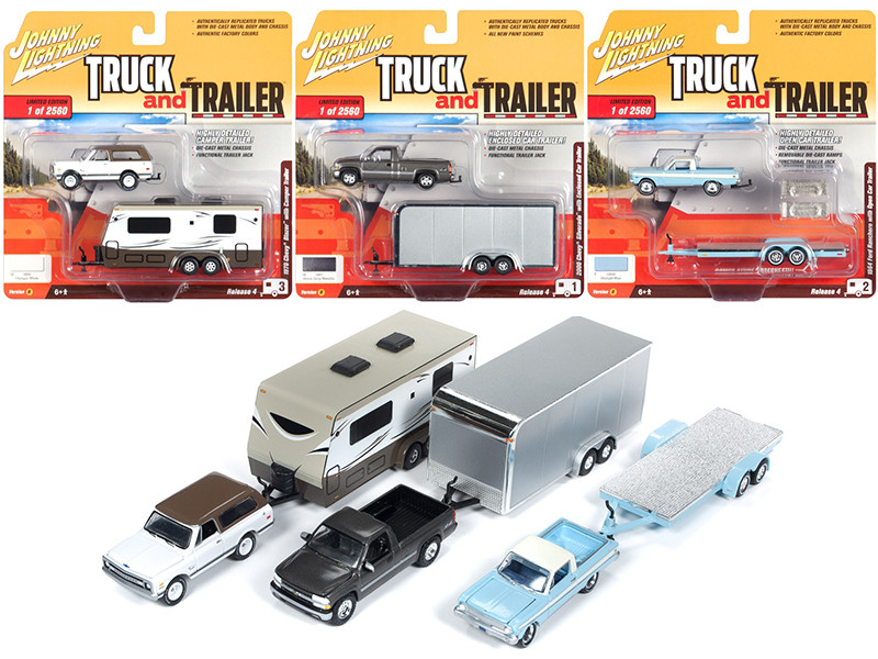 Truck and Trailer Series 4 Set B 3 Cars Limited Edition 2560 pieces Worldwide 1/64 Diecast Model Cars Johnny Lightning JLBT009 B