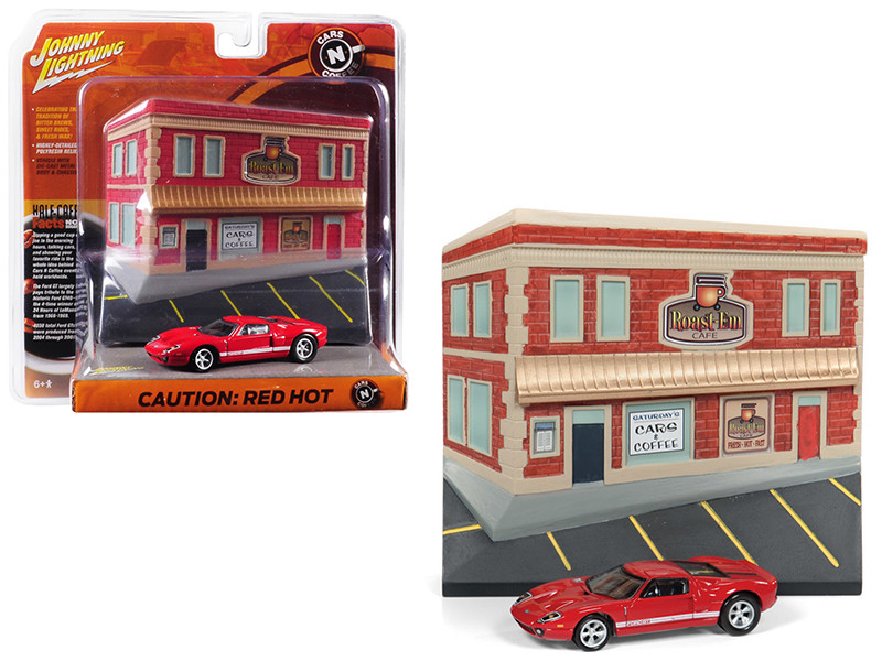 2005 Ford GT Red Resin Cafe Front Facade Cars Coffee Diorama 1/64 Diecast Model Car Johnny Lightning JLDR004