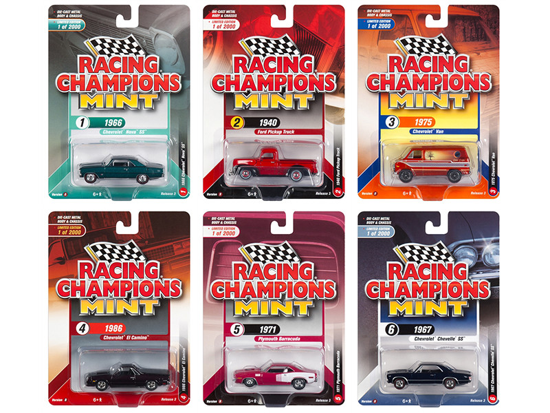 2018 Mint Release 3, Set B of 6 Cars Limited Edition to 2,000 pieces Worldwide 1/64 Diecast Models by Racing Champions