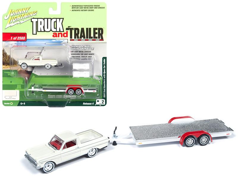 1964 Ford Ranchero Pickup Truck Open Car Trailer Wimbledon White Limited Edition 2560 pieces Worldwide Truck and Trailer Series 4 1/64 Diecast Model Car Johnny Lightning JLBT009 A