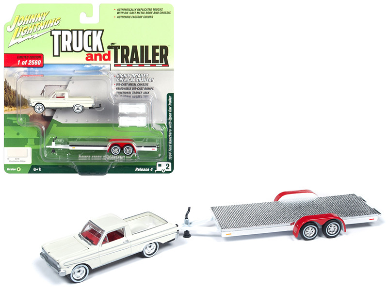 1964 Ford Ranchero Pickup Truck Open Car Trailer Wimbledon White Limited Edition 2560 pieces Worldwide Truck and Trailer Series 4 1/64 Diecast Model Car Johnny Lightning JLBT009 A