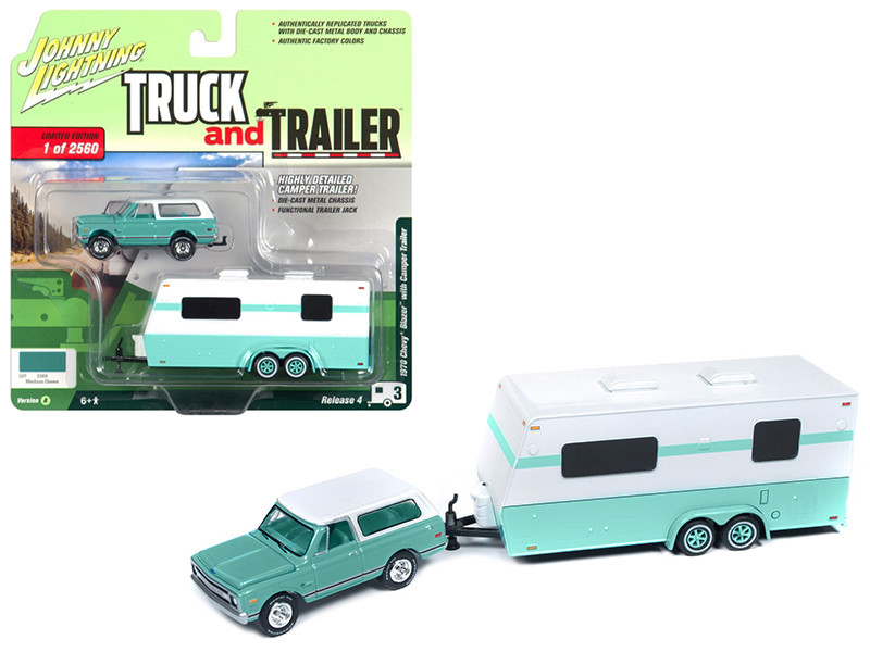 1970 Chevrolet Blazer Camper Trailer Medium Green White Limited Edition 2560 pieces Worldwide Truck and Trailer Series 4 1/64 Diecast Model Car Johnny Lightning JLBT009 A