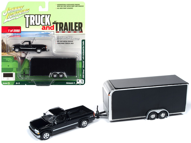 2000 Chevrolet Silverado Pickup Truck Enclosed Car Trailer Black Limited Edition 2560 pieces Worldwide Truck and Trailer Series 4 1/64 Diecast Model Car Johnny Lightning JLBT009 A