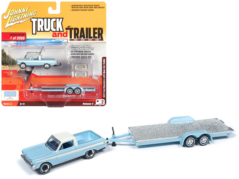1964 Ford Ranchero Pickup Truck Open Car Trailer Skylight Blue Limited Edition 2560 pieces Worldwide Truck and Trailer Series 4 1/64 Diecast Model Car Johnny Lightning JLBT009 B
