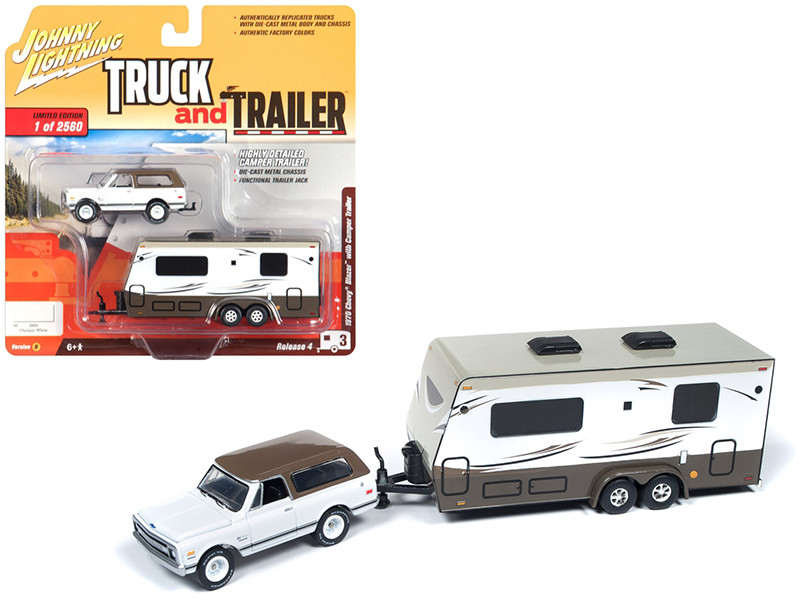 1970 Chevrolet Blazer Camper Trailer White Brown Limited Edition 2560 pieces Worldwide Truck and Trailer Series 4 1/64 Diecast Model Car Johnny Lightning JLBT009 B