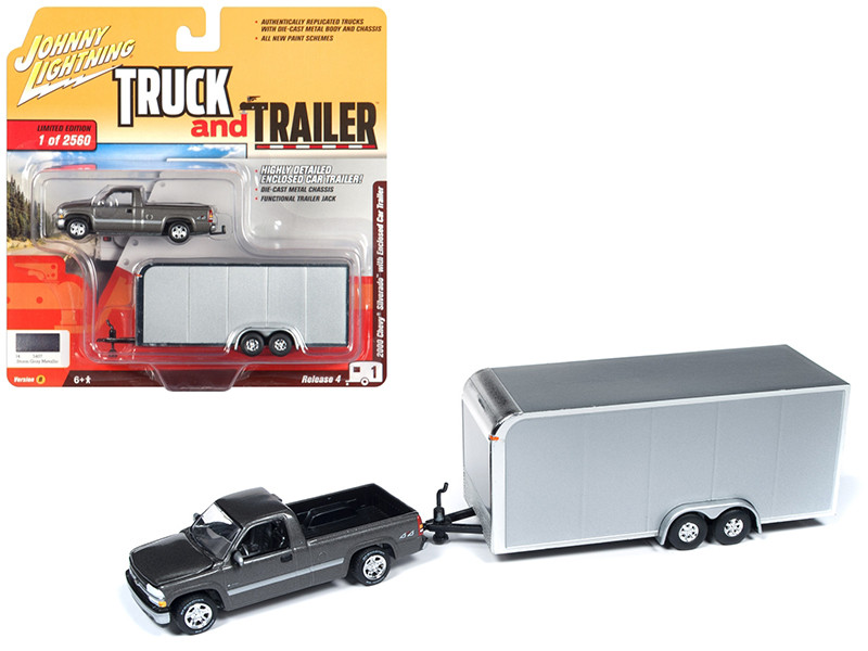 2000 Chevrolet Silverado Pickup Truck Dark Gray Enclosed Car Trailer Limited Edition 2560 pieces Worldwide Truck and Trailer Series 4 1/64 Diecast Model Car Johnny Lightning JLBT009 B