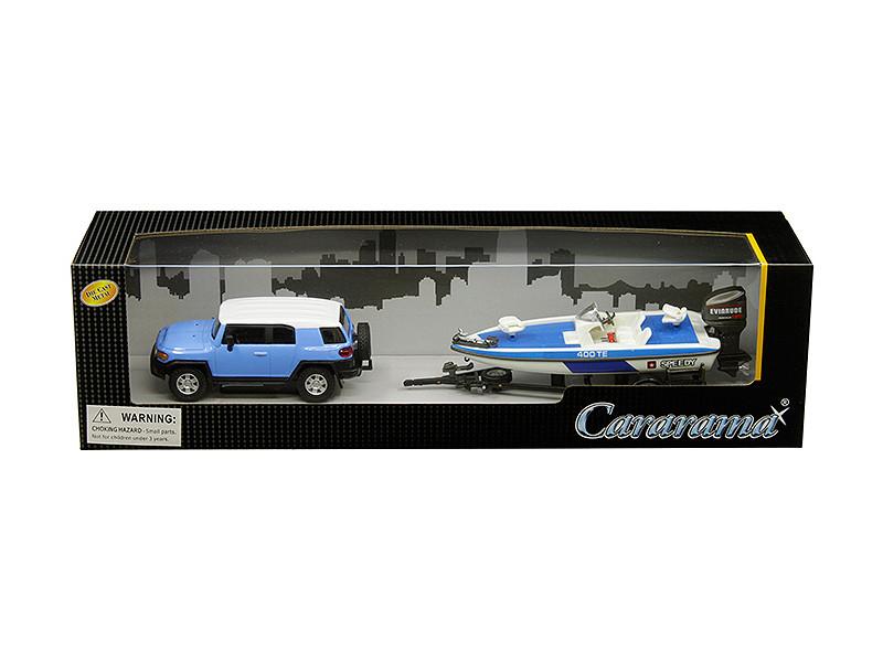 Toyota FJ Cruiser Speed Boat Trailer Blue White 1/43 Diecast Model Car Cararama 48116