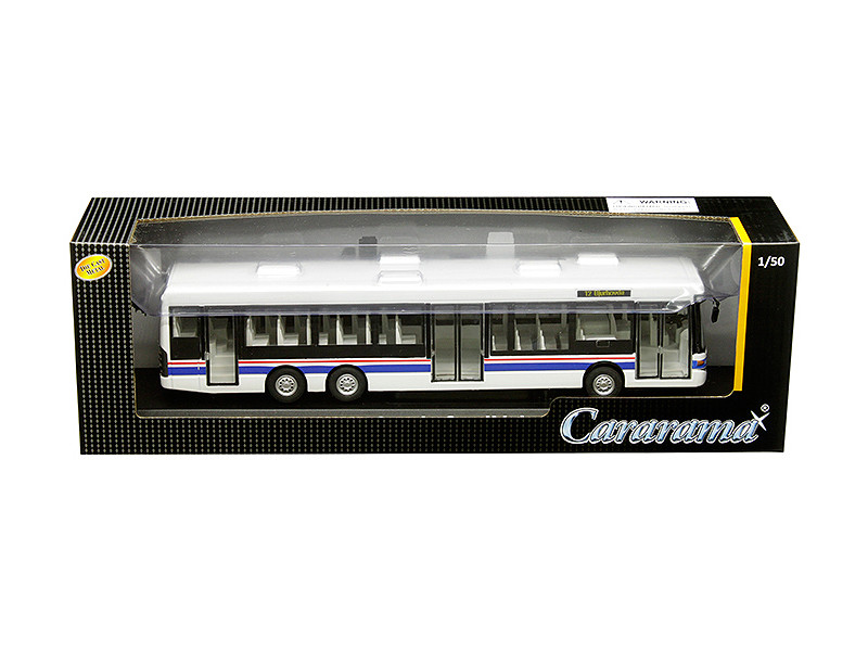 Scania OmniLink Bus White Blue Red Stripes 1/50 Diecast Model Cararama 56702 W