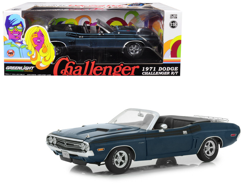 1971 Dodge Challenger R/T Convertible Luggage Rack Gunmetal Gray Metallic Black Stripes 1/18 Diecast Model Car Greenlight 13528