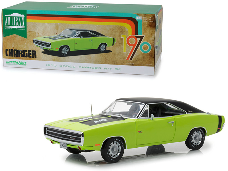 1970 Dodge Charger R/T SE 440 Sublime Green Black Top Black Stripes 1/18 Diecast Model Car Greenlight 13529
