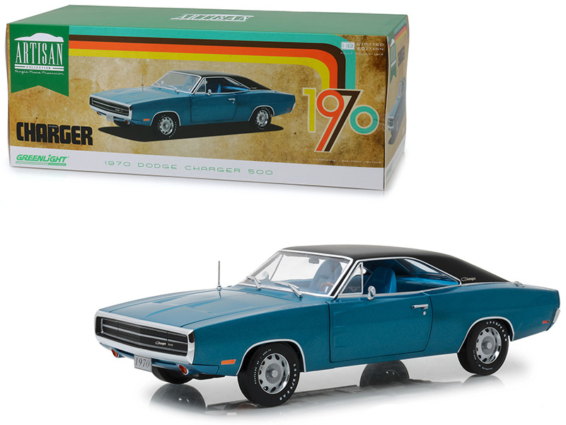 1970 Dodge Charger 500 Blue Black Top 1/18 Diecast Model Car Greenlight 13530