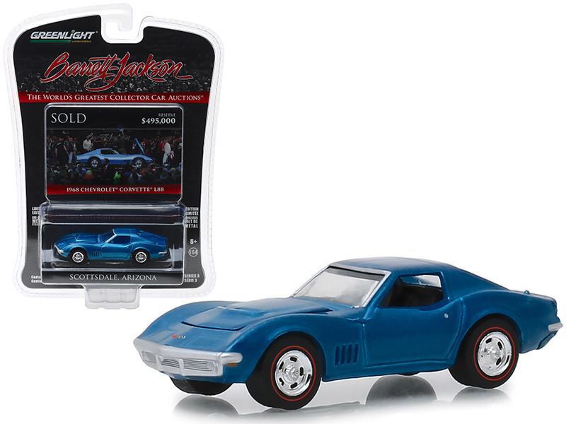 1968 Chevrolet Corvette L88 Lot #1418 Blue Barrett Jackson Scottsdale Edition Series 3 1/64 Diecast Model Car Greenlight 37160 B