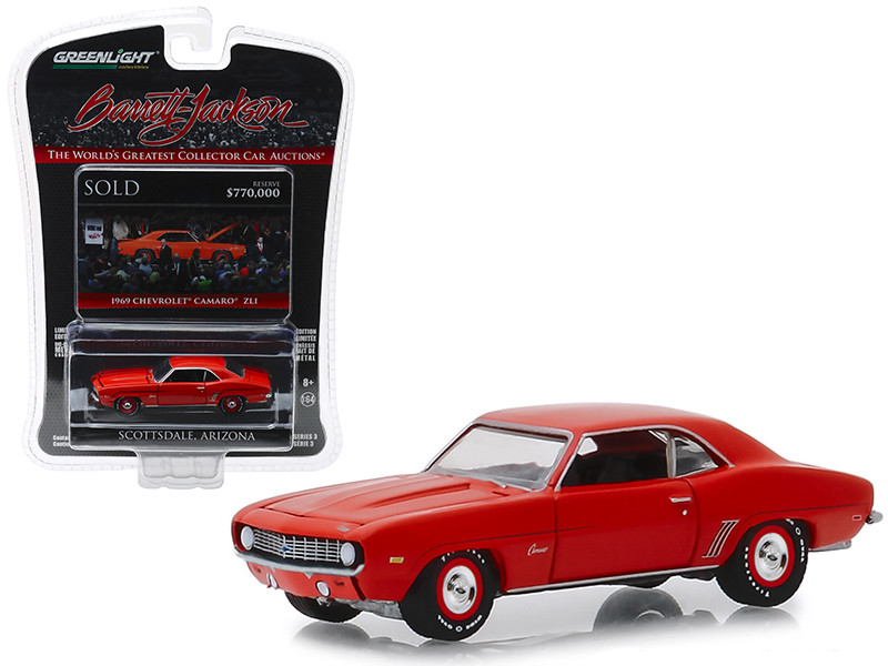 1969 Chevrolet Camaro ZL1 Lot #1409 Hugger Orange Barrett Jackson Scottsdale Edition Series 3 1/64 Diecast Model Car Greenlight 37160 D