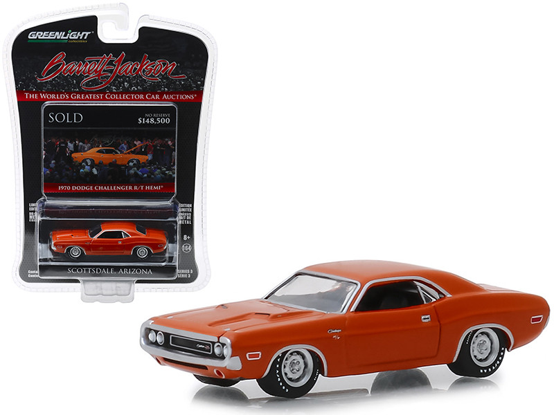 1970 Dodge Challenger R/T HEMI Lot #1330 Orange Barrett Jackson Scottsdale Edition Series 3 1/64 Diecast Model Car Greenlight 37160 E