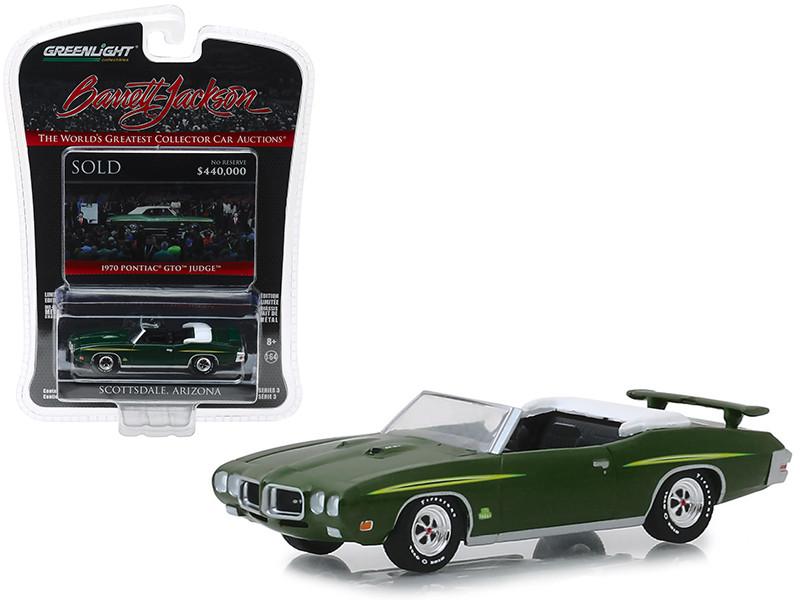 1970 Pontiac GTO Judge Convertible Lot #1412 Green Barrett Jackson Scottsdale Edition Series 3 1/64 Diecast Model Car Greenlight 37160 F
