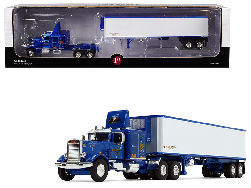 Peterbilt 351 63' Sleeper Cab 40' Vintage Trailer Western Distributing Blue White 1/64 Diecast Model First Gear 60-0439