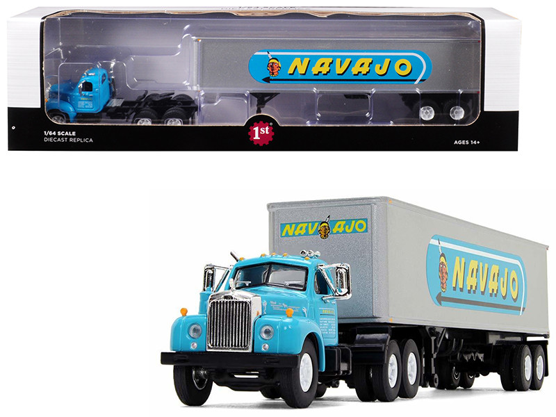 Mack B-61 Day Cab 40' Vintage Trailer Navajo Turquoise Silver 1/64 Diecast Model First Gear 60-0445