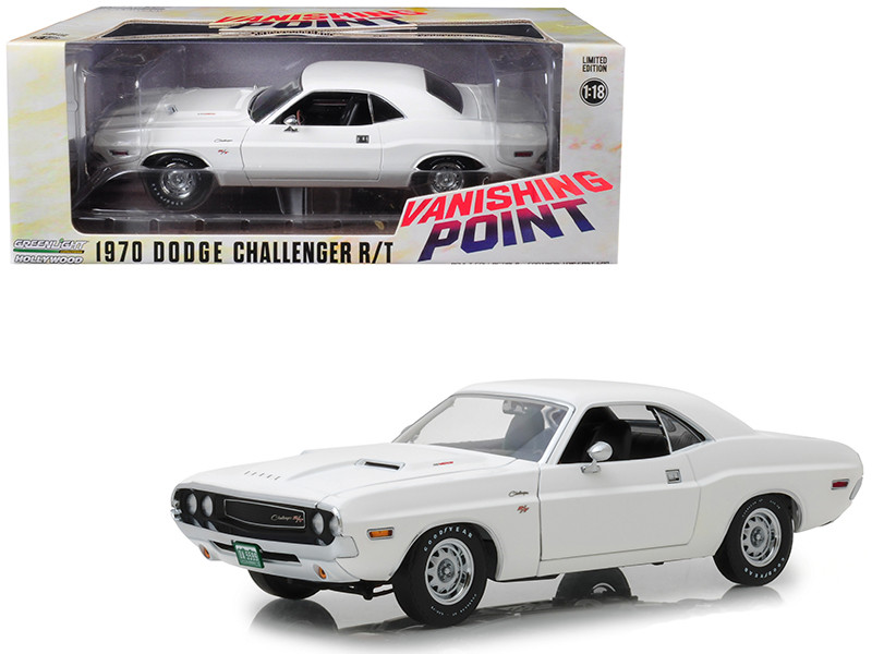 1970 Dodge Challenger R/T White Vanishing Point 1971 Movie 1/18 Diecast Model Car Greenlight 13526