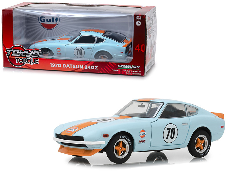 1970 Datsun 240Z #70 Gulf Oil Light Blue Tokyo Torque Series 1/24 Diecast Model Car Greenlight 18302