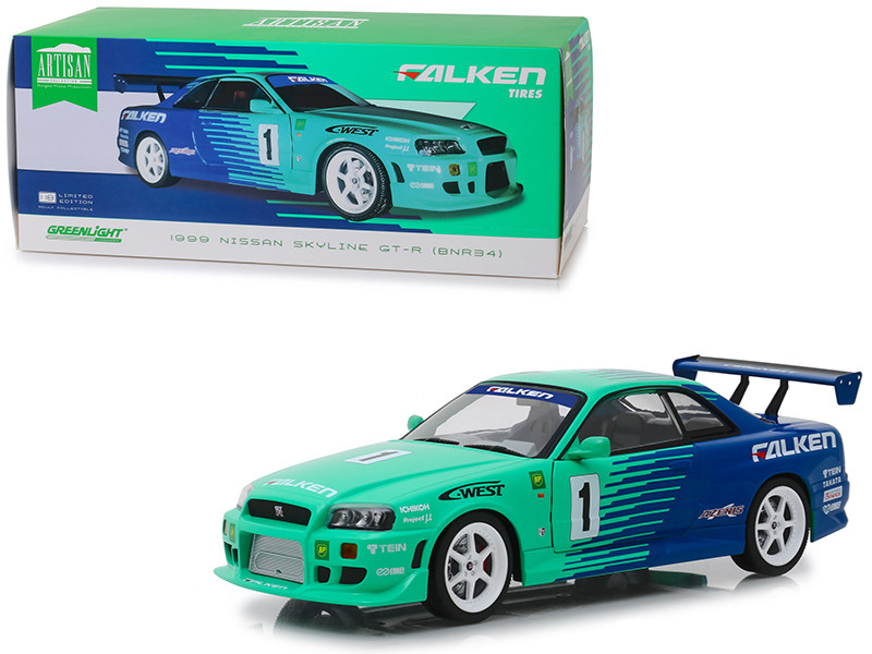 1999 Nissan Skyline GT-R BNR34 #1 Falken Tires 1/18 Diecast Model Car Greenlight 19050