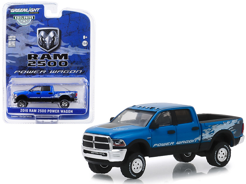 2016 Dodge Ram 2500 Power Wagon Pickup Truck Blue Streak Pearlcoat Hobby Exclusive 1/64 Diecast Model Car Greenlight 29983
